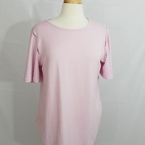 Pink flounce sleeve blouse,  simply styled,  LARGE